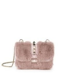 Valentino Rocklock Small Mink Fur Leather Shoulder Bag