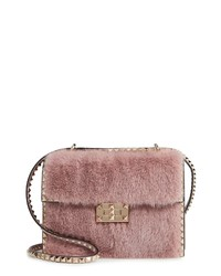 Valentino Garavani Small Rockstud Genuine Mink Fur Shoulder Bag