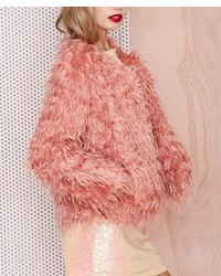 ChicNova Pink Faux Fur Coat