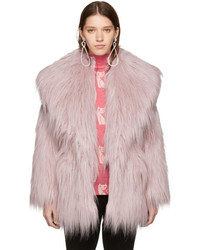 Miu Miu Pink Faux Fur Oversized Lapel Jacket