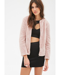 Forever 21 Zippered Plush Jacket