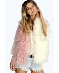 Boohoo Olivia Mongolian Faux Fur Colour Block Scarf