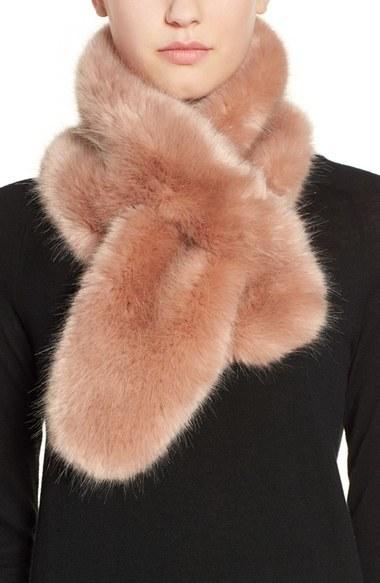 ... Pink Fur Scarves Halogen Faux Fur Pull Through Scarf ... 75adbfa8a232