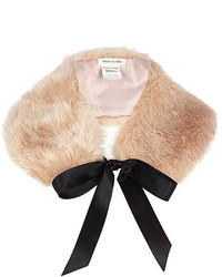 River Island Light Pink Faux Fur Collar
