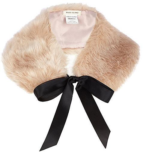 on feet at 100% genuine quality design River Island Light Pink Faux Fur Collar, $24 | River Island ...