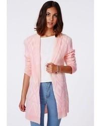 Missguided catrina aztec brushed oversized cardigan pink medium 87176