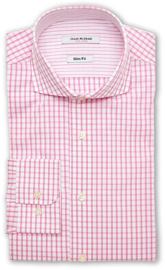 Pink Gingham Dress Shirt Isaac Mizrahi Pink White Gingham