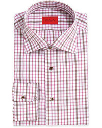 Isaia Woven Check Dress Shirt Brownpinkwhite