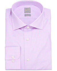Ike Behar Micro Check Poplin Dress Shirt Pink