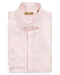 Natural Blue Gingham Linen Sport Shirt Pink 185 3435