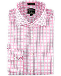 Neiman Marcus Regular Finish Trim Fit Square Checked Dress Shirt Pinkwhite