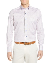 David Donahue Regular Fit Print Cotton Sport Shirt