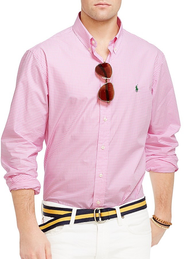 ... Long Sleeve Shirts Polo Ralph Lauren Gingham Poplin Button Down Shirt Regular  Fit