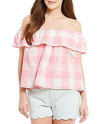 Lauren James Riley Ruffle Off The Shoulder Gingham Bow Split Back Top