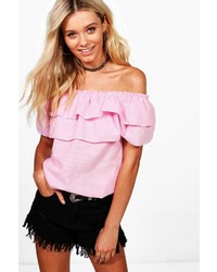 Boohoo Sophia Gingham Ruffle Off The Shoulder Top
