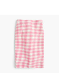 J.Crew Tall No 2 Pencil Skirt In Gingham Two Way Stretch Cotton