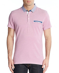 Saks Fifth Avenue Trim Fit Gingham Trimmed Cotton Polo