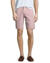 Zachary Prell Fringe Micro Gingham Seersucker Shorts Coral