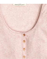 H&M Henley Shirt Light Pink Ladies