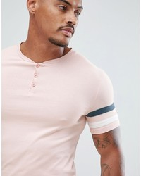 ASOS DESIGN Muscle Fit T Shirt With Grandad Neck And Sleeve Cut And Sew