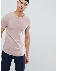 ASOS DESIGN Muscle Fit T Shirt With Grandad Neck In Pink