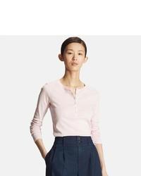 Uniqlo Supima Cotton Long Sleeve Henley Neck T Shirt