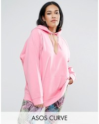 Asos Curve Curve Oversized Hoodie With Cut Out Front