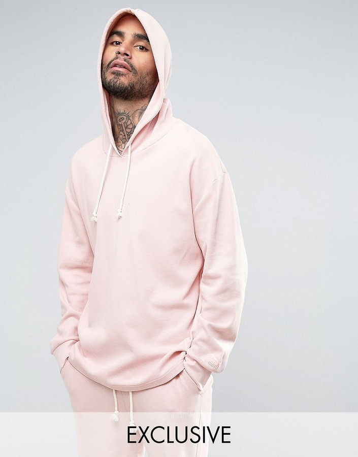 Puma Waffle Oversized Hoodie In Pink To