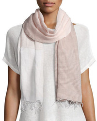 Eileen Fisher Hand Loomed Mix Striped Scarf Wfringe Opal