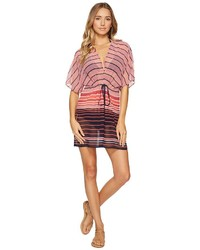 MICHAEL Michael Kors Michl Michl Kors Abby Stripe V Neck Caftan Cover Up Swimwear