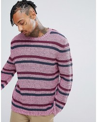 Asos Textured Striped Sweater In Pink