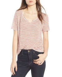 Pink Horizontal Striped Crew-neck T-shirt