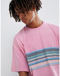 ASOS DESIGN Oversized T Shirt With Retro Chest Stripe On Neppy Jersey
