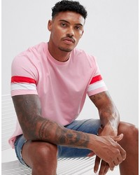 ASOS DESIGN Relaxed Longline T Shirt With Curved Hem And Contrast Sleeve Panels In Pink