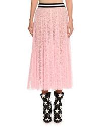 MSGM Lace A Line Midi Skirt Pink
