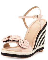 Kate Spade New York Jill Rosette Leather Wedge Sandal Pale Pink