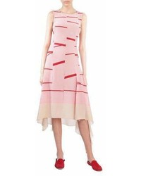 Akris Sleeveless Broken Stripe Midi Dress