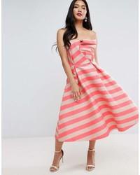 Asos Stripe Bandeau Prom Midi Dress