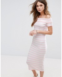 Only Abbie Stripe Bardot Off The Shoulder Dress