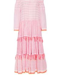 Lemlem Anan Off The Shoulder Striped Cotton Blend Gauze Midi Dress Pastel Pink