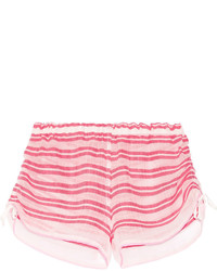 Lemlem Selina Striped Cotton Blend Gauze Shorts Pink