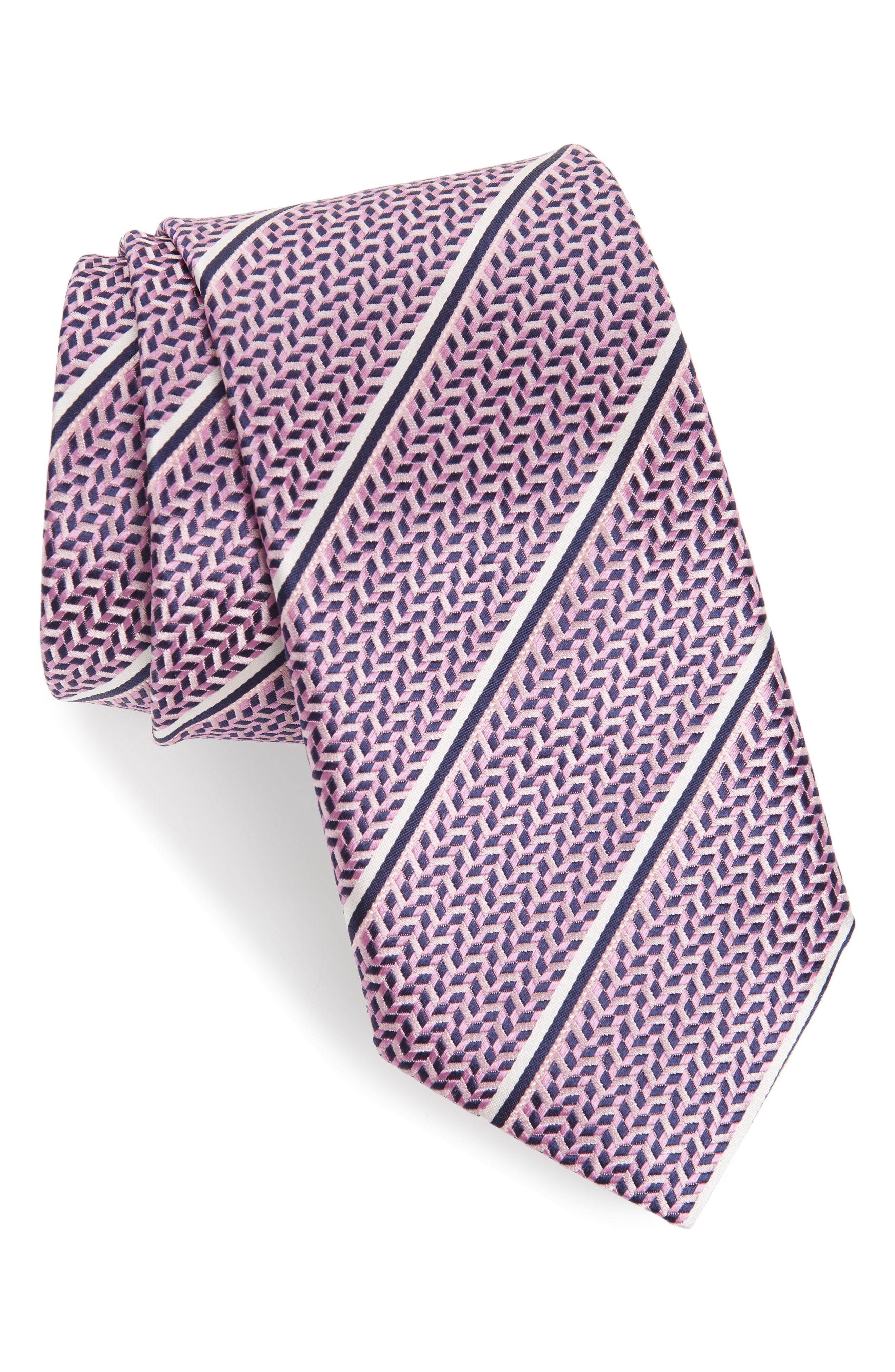 Canali men/'s pink striped tie $160