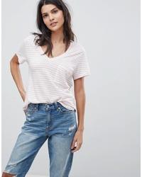 Pink Horizontal Striped V-neck T-shirt