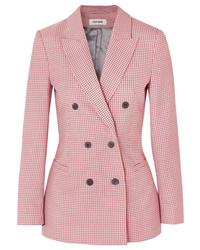 Cefinn Double Breasted Houndstooth Wool Blend Blazer