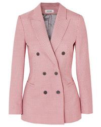 5eac95ea Women's Pink Houndstooth Blazer, White Dress Shirt, Blue Skinny ...