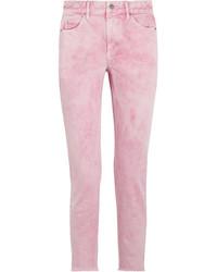 Etoile Isabel Marant Isabel Marant Toile Flovera Frayed High Rise Slim Leg Jeans Baby Pink