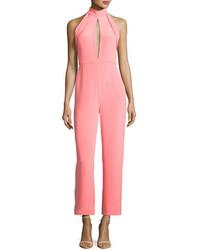 Cushnie et Ochs Folded Trim Wide Leg Cropped Jumpsuit Pink