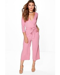 Boohoo Hannah Roll Sleeve Relaxed Culotte Jumpsuit