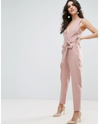 23433ba6e10 ... Asos Wrap Front Jumpsuit With Twist Back And Self Tie