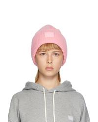 Acne Studios Pink Rib Knit Patch Beanie